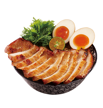 Grilled Japanese BBQ Sauce Pork Neck Donburi with Soft Boiled Egg and Kumquat