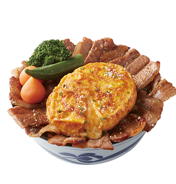Grilled Beef/Pork Donburi with Cheese Omlet