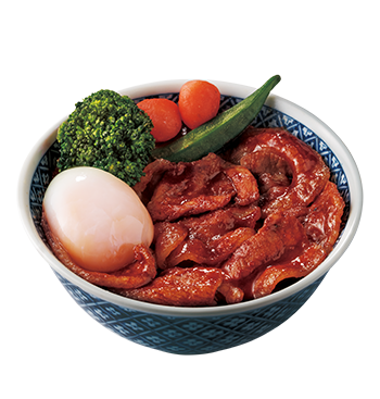 Spicy Miso Paste Grilled Beef/Pork Donburi with Soft Boiled Egg and Marinated Baby Carrot